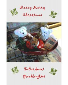 Stuffed Animals Grandaughter Christmas Card