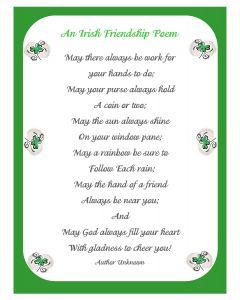 Irish Friendship Poem Printable